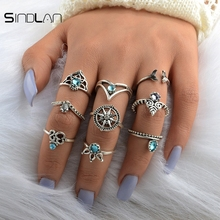 New Wedding Jewelry 9pcs / Set Bohemian Vintage Color Crystal Ethnic Wind Mermaid Tail Compass Geometric Hollow Ring For Women