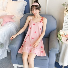 Sexy Sweet summer Women Nightdress  Mini Sling Nightdress Sexy With Chest Pad V-Neck Fruit Print Fresh Nightwear цена 2017