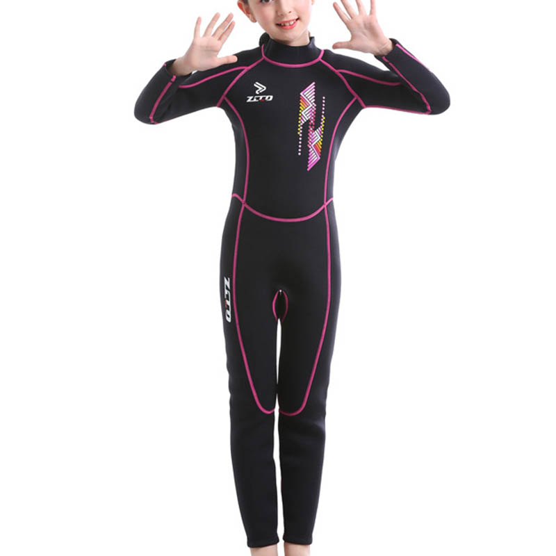 Homruilink Kids Wetsuit 3mm Neoprene Wetsuit Unisex Full Suit Long Sleeve Swimsuit UV Protection with Back Zip for Diving,Swimming,Surfing,Snorkeling