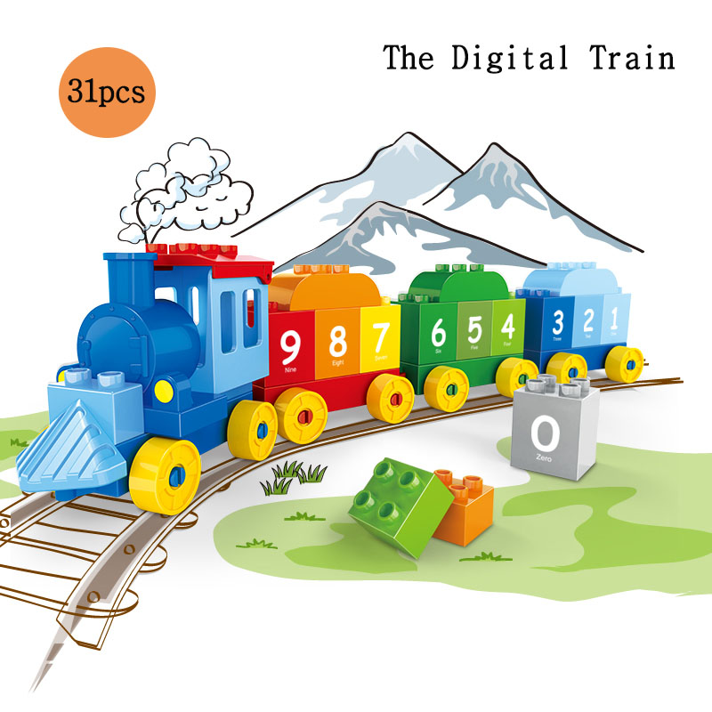Large particles The Alphabet Digital Train DIY Bricks Creative Educational Toys For Kid Building Blocks Set Compatible Tracks in Blocks from Toys Hobbies