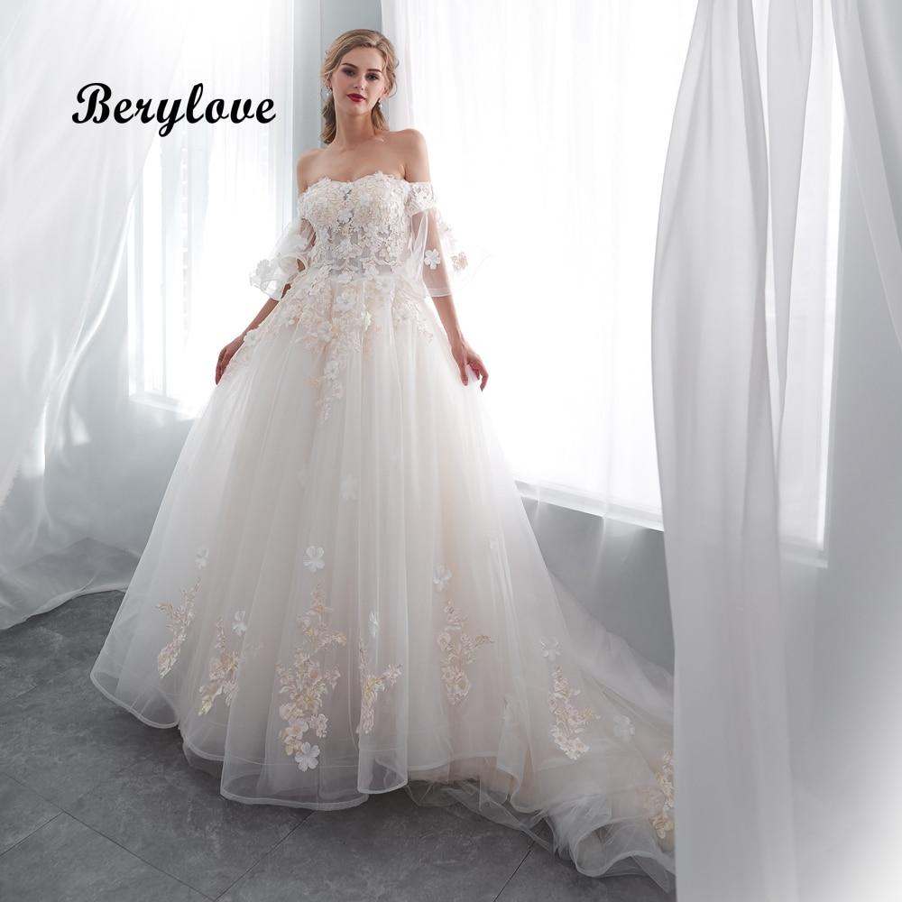 2019 Wedding Ball Gowns: BeryLove Luxury Ball Gown Wedding Dress Off Shoulder