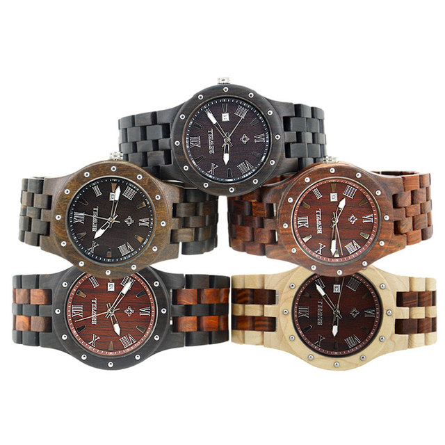 BEWELL Wood Auto Date Wristwatch mens watches top brand