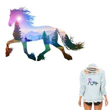 Beautiful Horse Patches For Clothing A- level Washable New Design Iron on Transfer Decoration Accessory Clothes Sticker Y-058