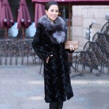 women real mink fur coat long special jacket with big silver fox fur collar winter keep warm female natural mink coat garment