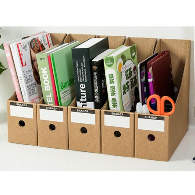 Hips 5pcs Hard Paper Doent File Storage Box Office Study Desktop Books Organizer Crate Set