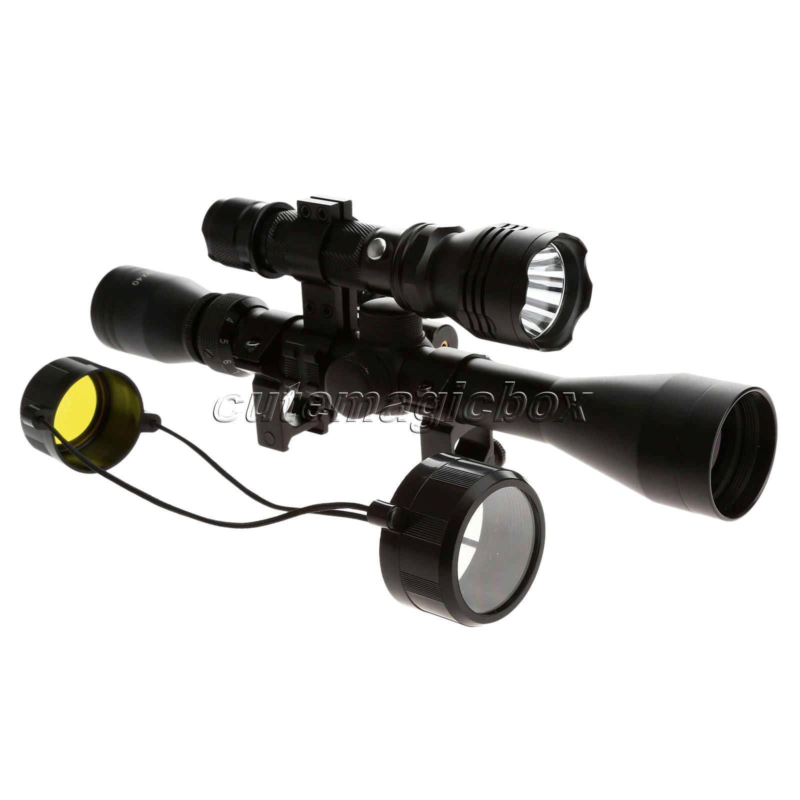 ФОТО Tactical 1 set Optical Sight Rifle Scope 3-9 X40 Hunting Mount Red Dot Laser Sight Black Single Mode Flashlight Hunting Shooting