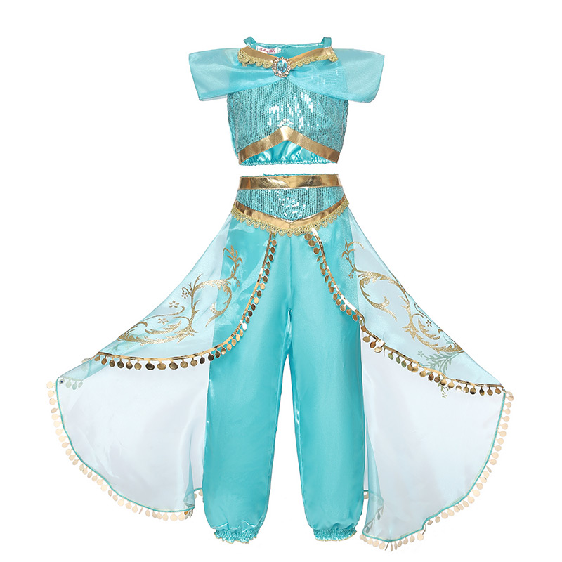 Summer Girl Dress Arabian Princess Jasmine Dress up Costume Children Sequin Cosplay Clothes Kid Halloween Party Fantasy Clothing(China)