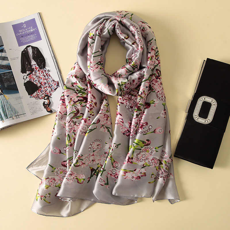 2018 moda cachecol luxo 100% lenço de seda feminino cachecóis xale alta qualidade impressão hijab wrap 180*90 cm