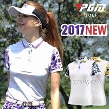 2017 New Women Golf T Shirt Printing Pattern Lady Golf Apparel Short Sleeves Polo Shirt 86