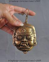 قديم التبت البوذية البرونزية mahakala بوذا رئيس الجلد تمثال التمائم قلادة-في تماثيل ومنحوتات من المنزل والحديقة على