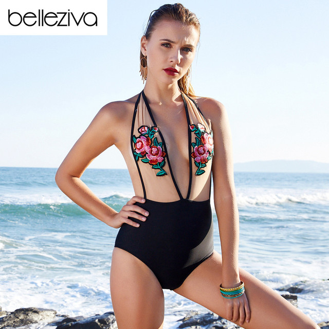 ba14fbd48c5d9 Belleziva Embroidered Mesh High Waist Halter One Piece Swimsuit Sexy  Backless Floral Swimwear Bandage Bathing Suit Monokinis
