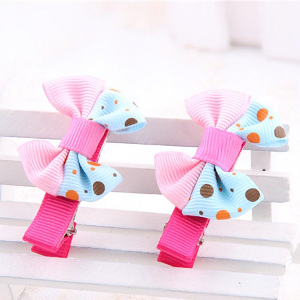 2018 5Pcs Kids Hairpin Girl Bowknot Dots motifs Hair Clip Set Wonderful Gift styling accessories