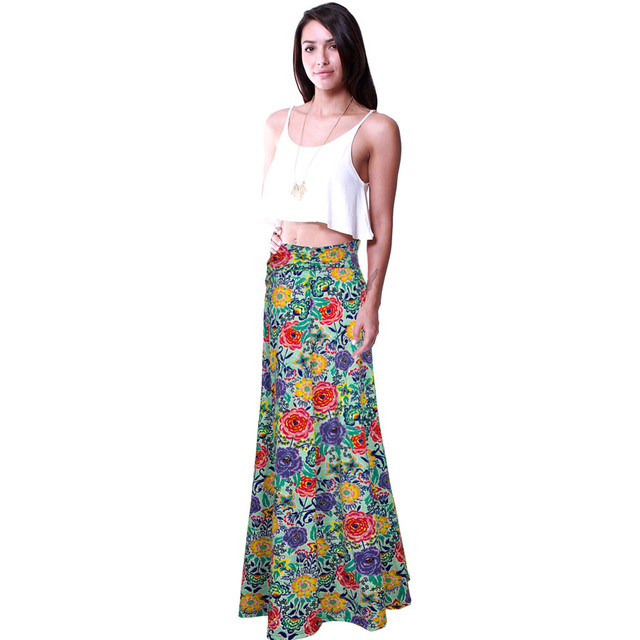 d7ee54dc75d Hot Sale New High Waisted Poly Span Floral Print Maxi Skirt Women s  Floor-Length Skirt
