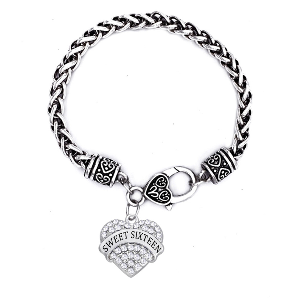 Double Nose Luck Number Jewelry Sweet Six Bracelets Heart In Crystal 16 Bracelet For Women Chain Link From