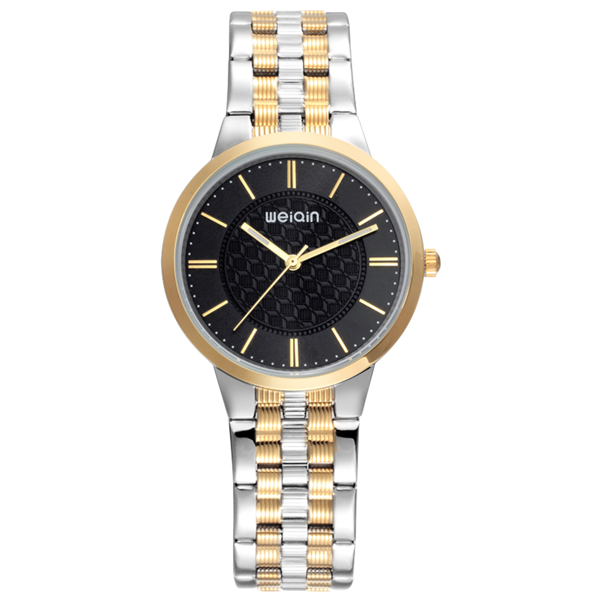 ФОТО WEIQIN Mens Watches Nail Scale Luminous Stainless Steel Band Quartz Watch For Men Hardlex Window Business Male Clock