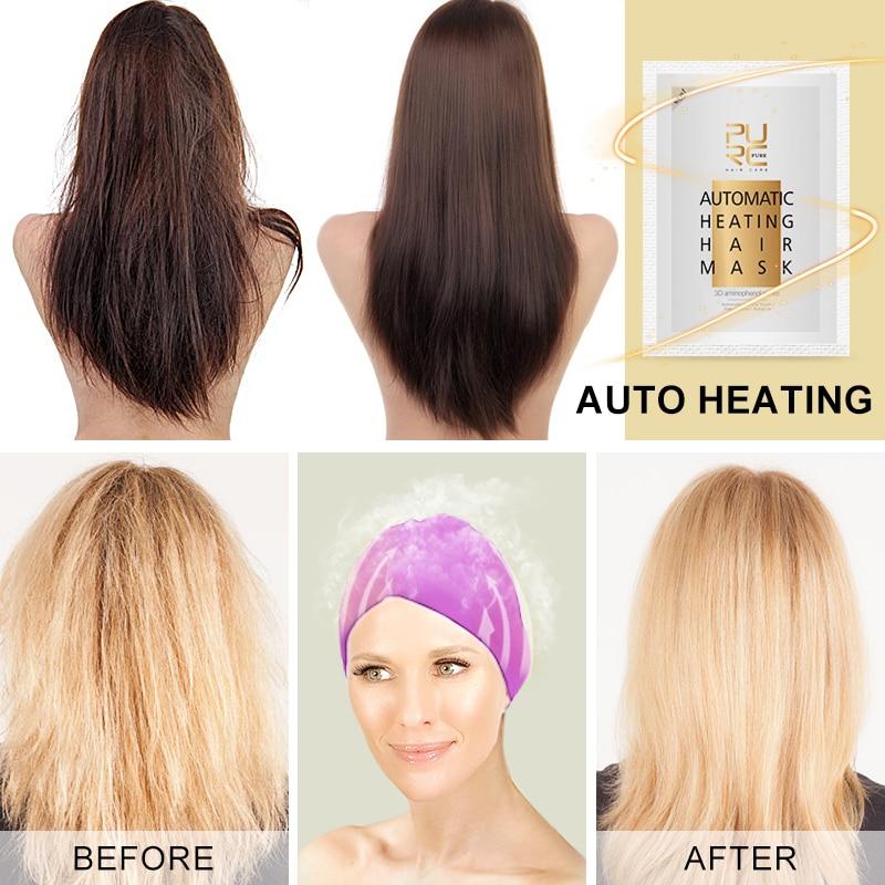 PURC 50g Automatic Heating Steam Hair Mask Keratin Argan Oil Treatment Repair Hair Coarse Dry Split Ends Hair Care
