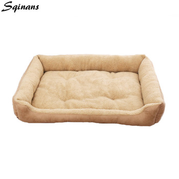 Sqinans Lamb Plush Dog Beds Mechanical Washable Puppy Cat Sofa Warm Fleece Dog Cushion Bed For Teddy Golden Retriever M/L/XL image