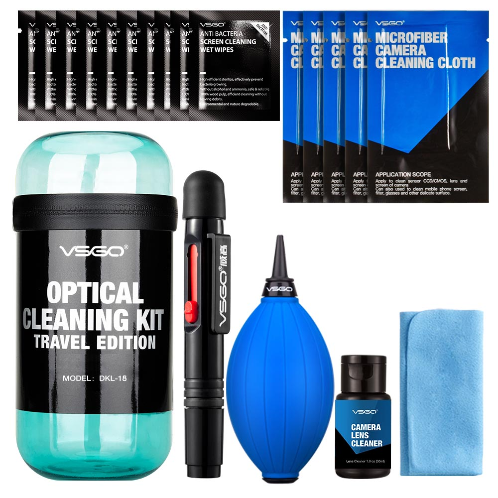 VSGO 20 in 1 Professional Camera Cleaning Travel Kit Pro Edition für Canon Nikon Sony SLR DSLR-Digitalkamera-Objektiv-LCD-Bildschirme