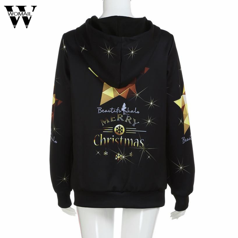Womail charmDemon Women Christmas Digital Printing Hoodie Baseball Coats Sweats femme pullover no20.6A