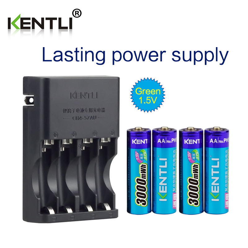 KENTLI 4pcs 1.5v aa 3000mWh Rechargeable Li-ion Li-polymer Lithium battery + 4 slots AA AAA lithium li-ion Smart Charger original 2200mah rechargeable lithium ion battery for uhans u100 smart phone