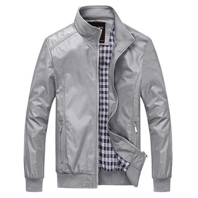 2018 New Men Jacket Spring Autumn Solid color Casual M 5XL 6XL Outerwear Mandarin Collar Clothing