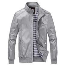 2019 New Men Jacket Spring Autumn Solid color Casual M-5XL 6XL Outerwear Mandarin Collar Clothing