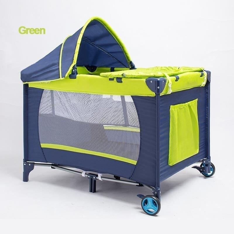 CACX lit bébé Portable multi-fonctionnel pliant lit bébé avec couches Table à langer voyage enfant jeux lits pour berceau infantile - 5