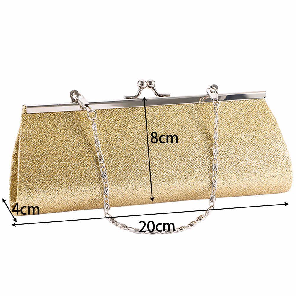 Wanita Malam Bag Mengkilap Glitter Tas Genggam Dompet Tas Pesta Malam Pengantin Pernikahan Perjamuan Rantai Tas Tangan Tas Bahu