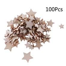 100 шт лазерная резка дерева украшение Деревянная звезда Форма