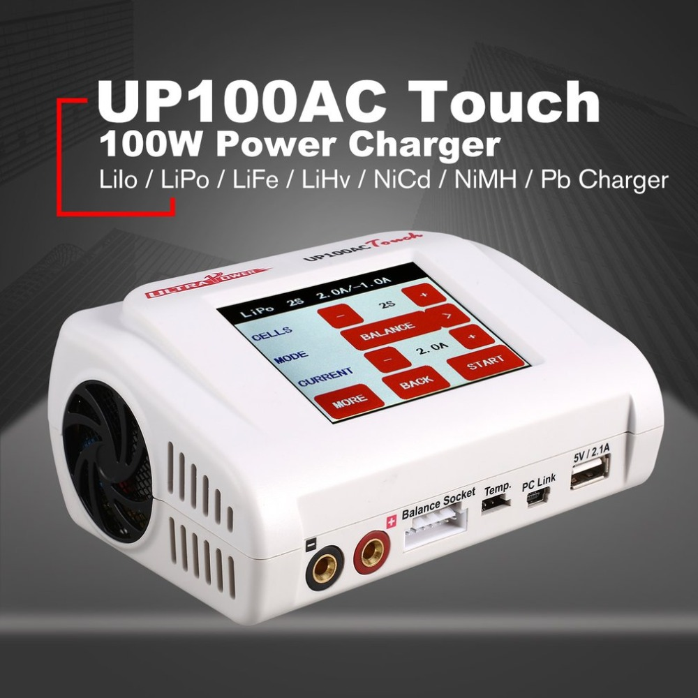 Ultra Power UP100AC Touch Screen 100 W Rc Multicopter LiIo/LiPo/LiFe/LiHv/NiCd/NiMH/Pb Charger Balance Charger/Discharger ht 1pcs original ultra power 100w up100ac balance charger with multiple charging modes 2ports for lipo lihv life lilon nicd nimh pb