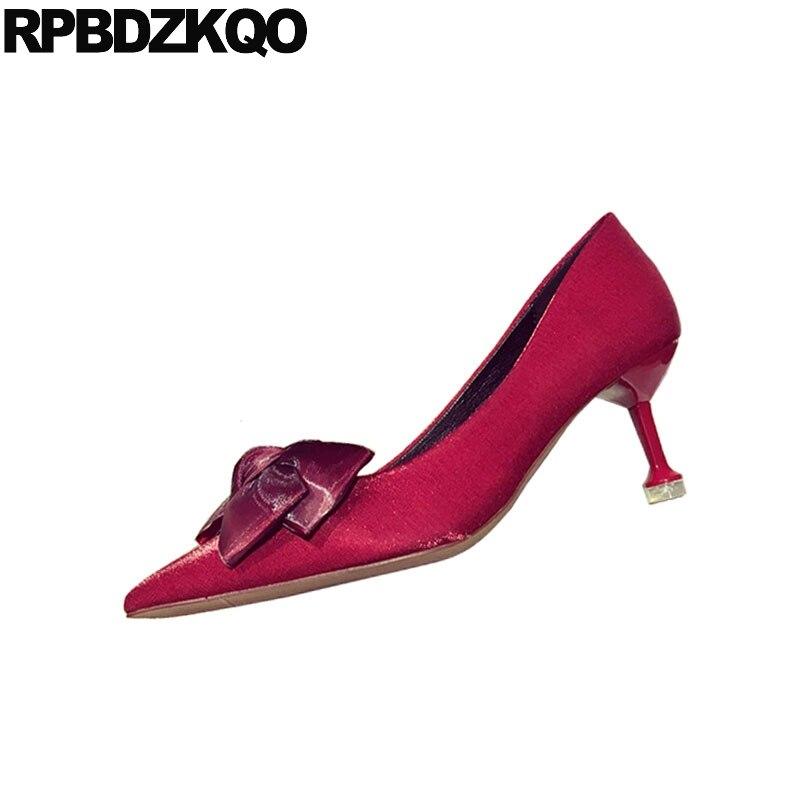 2018 Noir champagne Chaussures Rouge Dames Mince Japonais Noir Doux Satin Scarpin Moderne De Soirée Femmes Arc Bout Talons Pointu Moyen rouge Mignon Automne thQCdBsxr