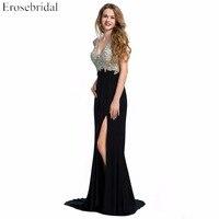 Erosebridal נוצצים ואגלי שמלת הערב לנשף שמלות המפלגה סקסי V צוואר בת ים פורמליות נשים שחור אדום הכחול Vestido דה Festa