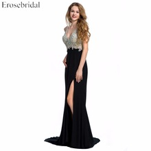 Evening Dress Erosebridal Sparkly Beading Long Prom Party Gowns Sexy V Neck Mermaid Formal Women Black Red Blue Vestido De Festa