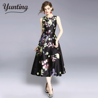 Floral Print Vintage Summer Dress Women 2019 Tunic Sleeveless Elegant Party Dresses Vestidos Robe