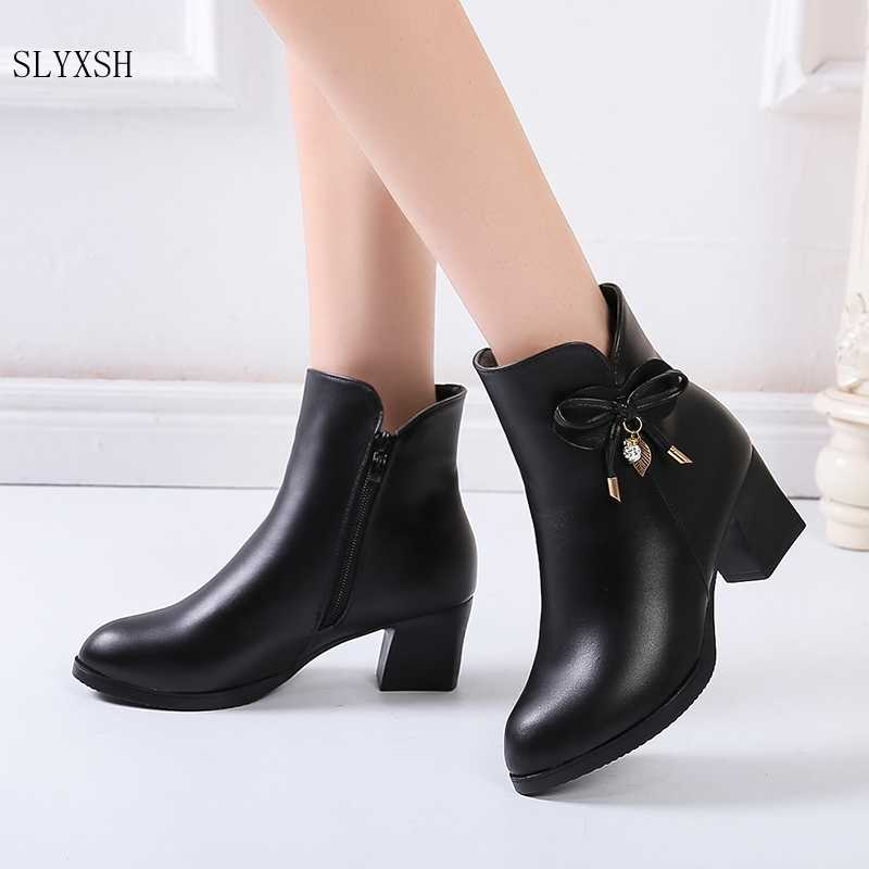 Women Boots Black Leather Ankle Boots For Women Bow High Heel Boots Autumn Female Shoes Size 35-41 Botas Mujer Red wine