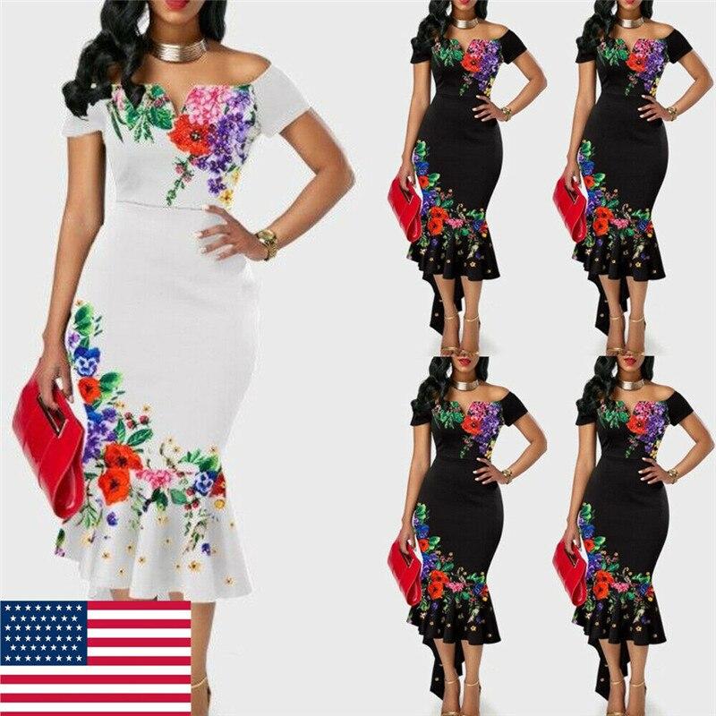 Women Off Shoulder Strap Dress Summe Bodycon Party Club Dress Fishtail Dress