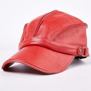 Image 4 - Chapéu masculino de couro quente bonés de beisebol flat top chapéus inverno ajustável tamanho da cabeça snapback osso pai couro língua boné unisex