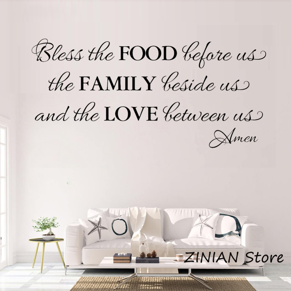 Us 8 09 24 Off Kitchen Decor Blessing Wall Decals Dining Room Food Family Love Sticker Quote Living Decorate Waterproof Decal Z073 In