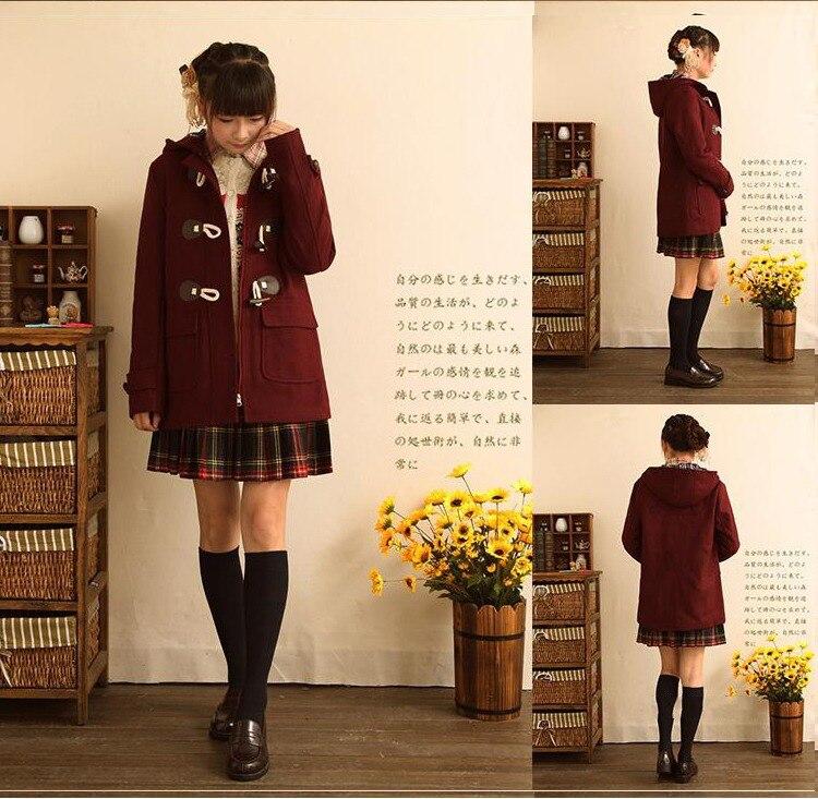 Japanese Girls School Studente Uniformi JK Corno Fibbia Cappotto di Trincea Carino Inverno Maniche Lunghe Outwear 3 Colori-in Lana e misto lana da Abbigliamento da donna su  Gruppo 3