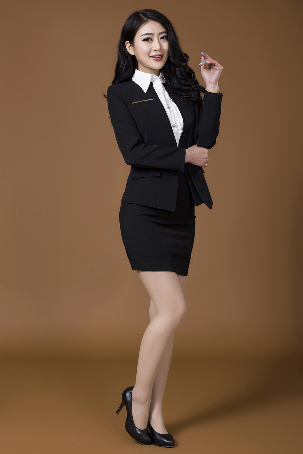 Spring 2014 Formal Women Skirt Suits Sets Red Black Coat Skirt ...