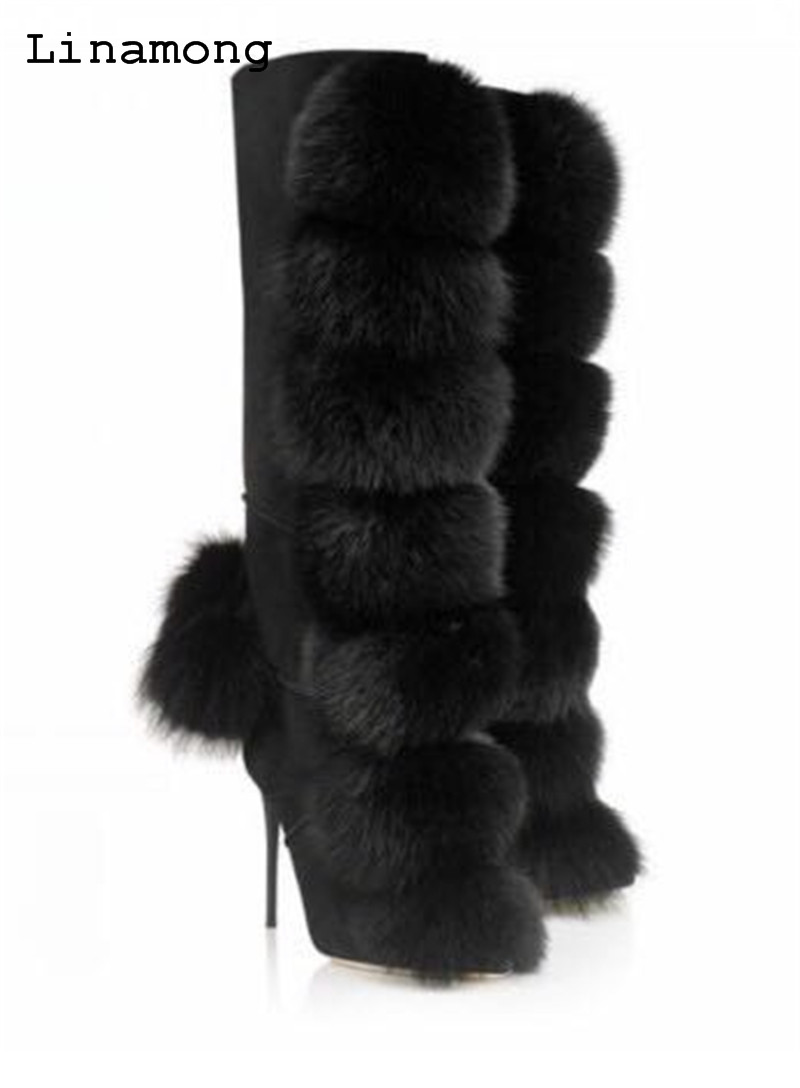 2018 Winnter unique chic leather with animal fur decoration mid-calf thin high heel boots warm and comfortable stylish women s mid calf boots with solid color and fringe design