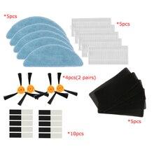 2 paires brosse latérale + 5 * filtre HEPA + 5 * éponge + 5 * tissu de vadrouille + 10 * pâte magique CONGA EXCELLENCE pièces daspirateur robot