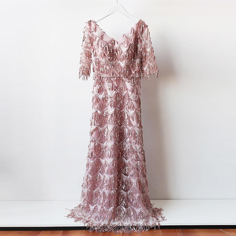 Sexy V-neck Sequin Long   Dress   Red Bean Pink Colour   Bridesmaid     Dress   Wedding   Dress   Back of Zipper