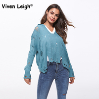 Viven Leigh Sexy Loose V Neck Hooded Women Sweater Top Fashion High Street Long Sleeve Hole Knitting Jumper Distressed Sweater