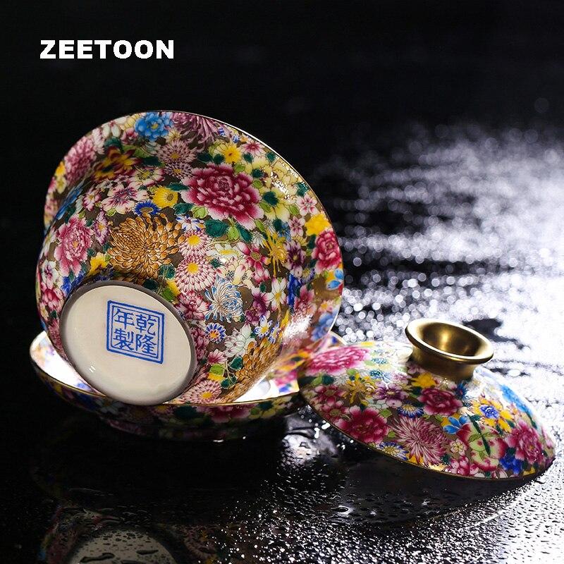Boutique Collection Gaiwan Kung Fu thé ensemble fleurs couleur émail céramique artisanat Famille Rose porcelaine thé bol tasse soucoupe soucoupe