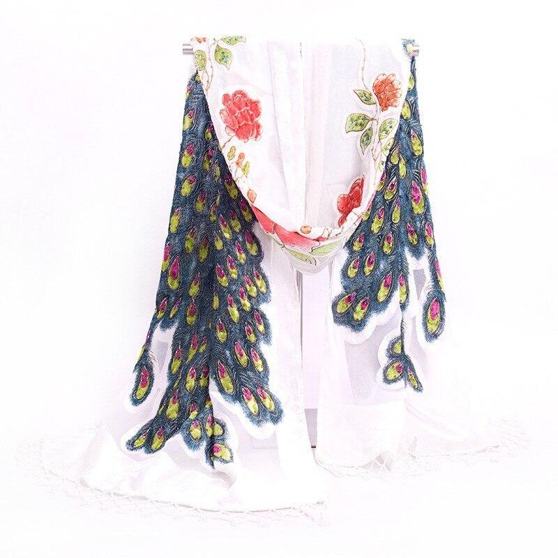 Горячая Распродажа черный женский бархатный шелковый вышитый бисером шаль шарф обертывание шарфы Peafowl WS006-H - Цвет: Белый