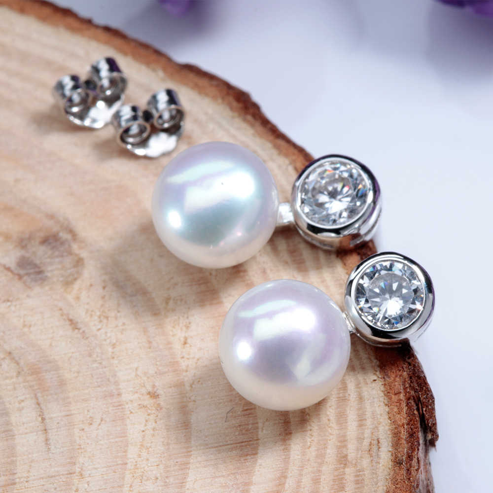 Clearance Sale !Women Elegant 100% Natural Freshwater Pearl Stud Earrings Good Quality Zircon Silver 925 Jewelry Wedding Withbox