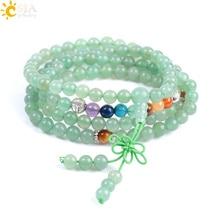 CSJA Bracelets de laventure verte naturelle, collier de perles, 6mm, bouddhiste, Chakras, prière pour guérison, bijoux multicouches, F060
