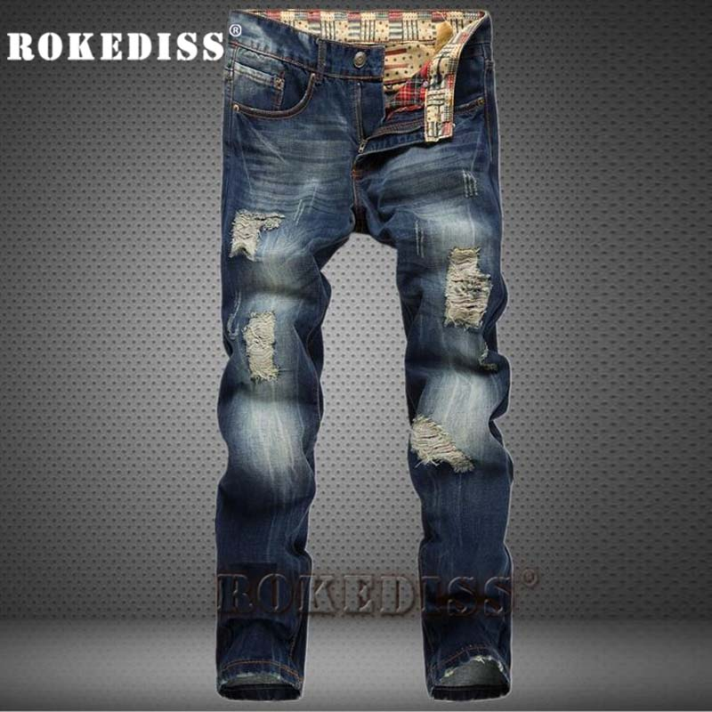 ФОТО High Quality Men's Hole Casual Ripped Men Pants Straight For Denim Trousers Vaqueros Hombre Skinny Brand-clothing Jeans A178