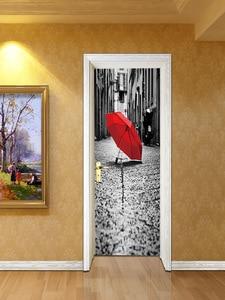 Image 5 - Đường phố Chiếc Ô Màu Đỏ Trên Mặt Đất Giả 3d Dán Cửa Phòng Khách, phòng ngủ Cửa Đổi Mới Dán Tự dính